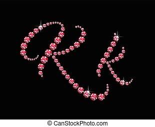 Kk rose quartz jeweled font. Kk in stunning rose quartz ...