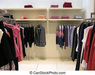 kläder, in, butik