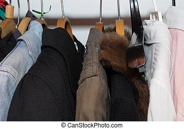 kläder, in, den, garderob