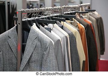 kläder, på, ställ, in, butik