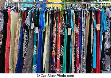 kläder, till salu, hos, gata marknadsför