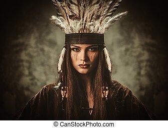 klädesplagg, kvinna, traditionell, indisk, huvudbonad