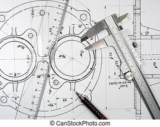 klämma, linjal, och, blyertspenna, på, teknisk, teckningar