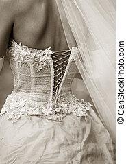 klänning, av, a, brud