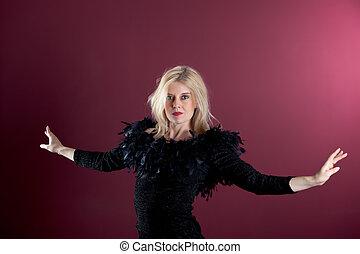 klänning, blondin, svart, attraktiv
