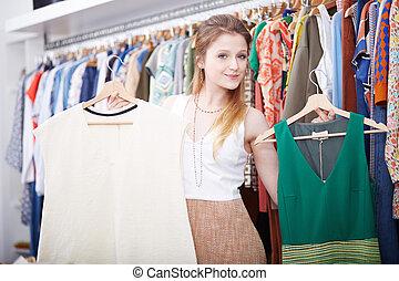 klänning, kvinna handling, ung, lager