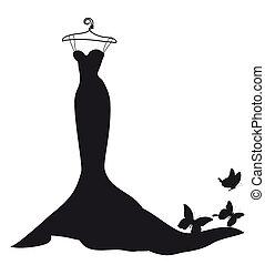 klänning, vit, svart,  design, bröllop