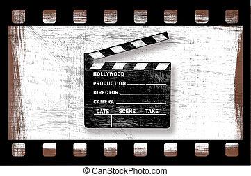 kläpp, film, director's, smutsa ner, grungy, bord