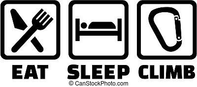 klättra, sömn, äta, icons.
