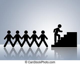 klättrande, jobb, trappa, befordran
