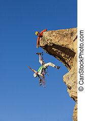 klättrande, lag, strider, till, den, summit.