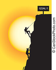 klättrande, till, den, mål