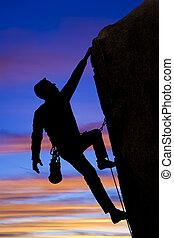 klättrare, gå, för, den, summit.