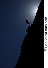 klättrare, hos, skymning