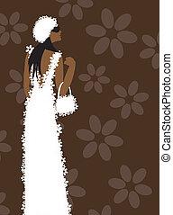 klæde, kvinde, mode, hvid