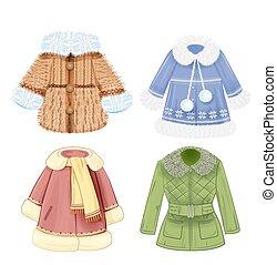 klæder, sæt, vinter, børn