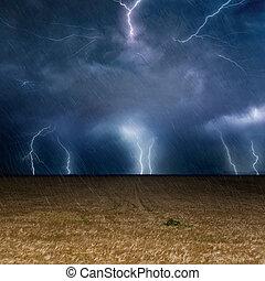 klíma, fogalom, villámlás, stormy ég, előre lát, sötét háttér, időjárás, cserél