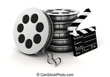klöppelausschuß, hintergrund, weißes, rolle, film, 3d