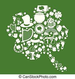 klöver, blad, ikonen, patrick, st, grön fond