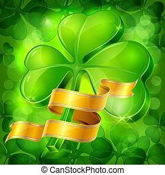 klöver, ribbon., illustration., gyllene, bladen, vektor, grön