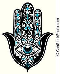 kl172 - Hamsa, hand of Fatima, vector illustration