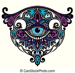 kl225 - Eye with floral elements. Art Boho style.