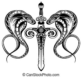 kl425 - Abstract vector illustration sword with snake. ...