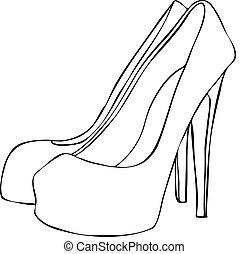 klacka, hög, stilig, stilett, skor
