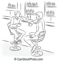 klage, bankschalter, bar, mann, sitzen