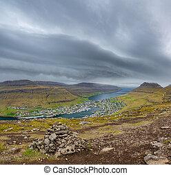 Klaksvik city top view in Faroe Islands