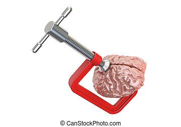 klammer, beanspruchen, begriff, übertragung, brain., menschliche , kopfschmerzen, 3d