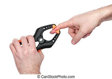 klampe, grabbed, den, finger