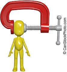 klamra, głowa, osoba, siła, ciśnienie, ściskać, ból głowy