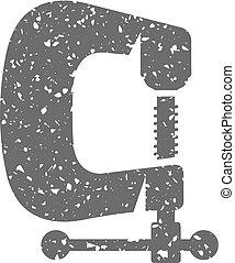 klamra, grunge, instrument, -, ikona