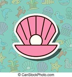 klamra, perła, morskie życie, rysunek