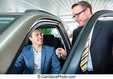 klant, auto, dealership, auto, nieuw, aankoop