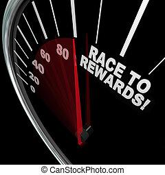 klant, beloningen, trouw, programma, hardloop, snelheidsmeter, punten
