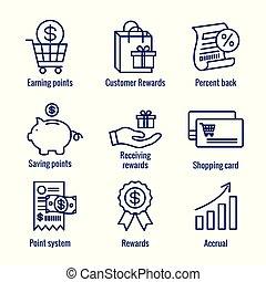klant, beloningen, winkeltas, -, korting, set, beelden, pictogram