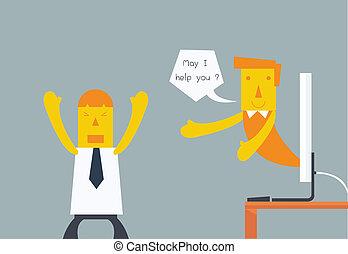 klant, conceptueel, dienst