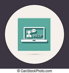 klant, draagbare computer, steun