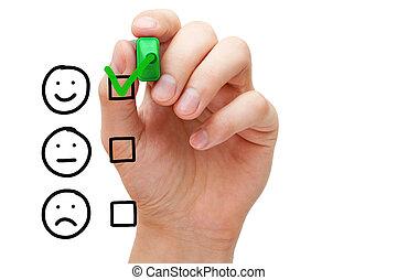klant, evaluatie, dienst, uitstekend