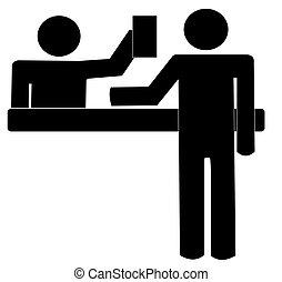 klant, helpen, offergave, op, toonbank, servicedesk