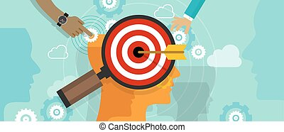 klant, hoofd, concept, doel marketing, verstand, strategie, ...