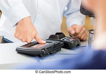 klant, indruk, duim, geven, maken, apotheek, betaling