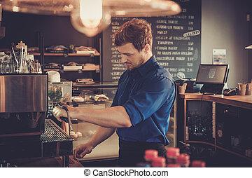 klant, koffie, barista, shop., kop, het bereiden