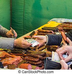klant, lonend, voor, de, sausages