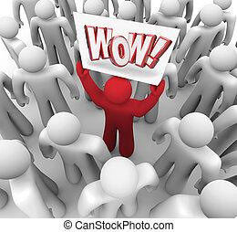 klant, menigte, wow, suprise, meldingsbord, bevrediging, vasthouden, man