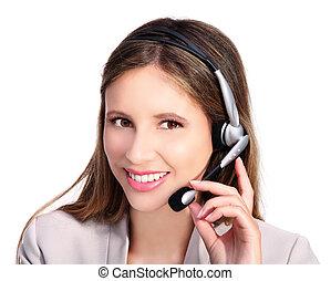 klant, microfoon, dienst, headphones, het glimlachen van het meisje