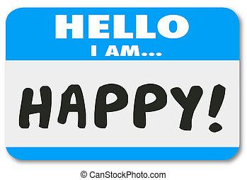 klant, naam, tevreden, label, woorden, hallo, vrolijke