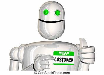 klant, nametag, verkoop, illustratie, robot, digitale ,...